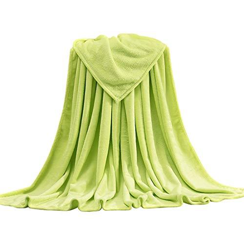 Oraunent Manta de Microfibra, Color Sólido Mantas para Sofás Extra Suave, Invierno Mantas de Felpa Cálida para Cama, Dormitorio, Sofá, Viajes Verde 2XL,150x200cm