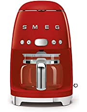 Smeg DCF02RDUK, 50'S Retro Style Drip Filter Coffee Machine, 10 Cup Capacity with Aroma Intensity Function, Water Hardness Adjustment & 1.4 L Tank, Reusable Coffee Filter, Red,1 Year Warranty