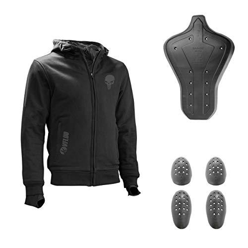 VFLUO Full Protect Sweatshirt™, 100% Kevlar gefüttertes Motorrad Kapuzensweatshirt, 3M reflektierende Technology™, SAS-TEC™ Ultra Soft integrierter Schutz gegen Erschütterungen, Schwarz, Skull, XL
