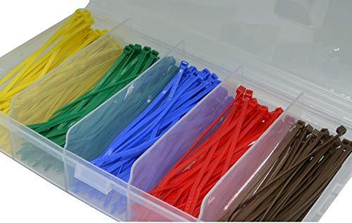 Kabelbinder Sortiment Set farbig bunt 5er Set 2,5x100mm 500 Stück Sortimentbox