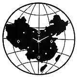 LHJ Moderne Minimalistische China Karte Wanduhr Runde Stumm Hause Küche Büro Bar Dekorationen Metall Uhr Wandaufkleber Schwarz Größe 54cm × 54cm