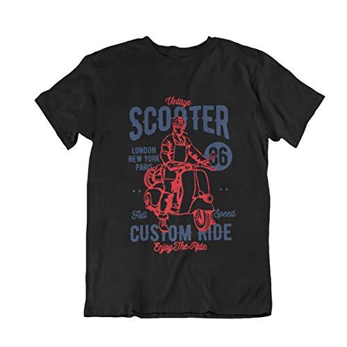 New Vintage Scooter Custom Ride Black Men's T-Shirt Size S-5Xl Black XL