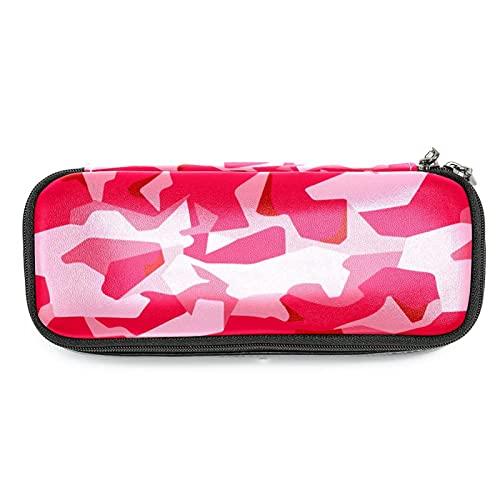 Bolsa de cuero militar de camuflaje rosa organizador de papelería de escritorio, grandes compartimentos de almacenamiento para niños, estudiantes, bolsa de maquillaje cosmética de viaje con cremallera