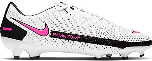 Nike Unisex-Adult Phantom GT Academy FG/MG Soccer Shoe, White/Pink Blast-Black-Black, 39 EU