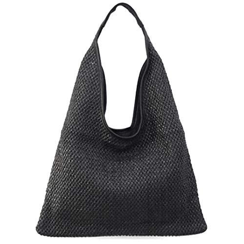 Beauneo Bolsos de Hombro de Mujer de Moda Bolso de Paja de Mimbre Bolsos de DiseeO Bolso de Gran Capacidad Bolso de Playa de Verano Femenino Negro