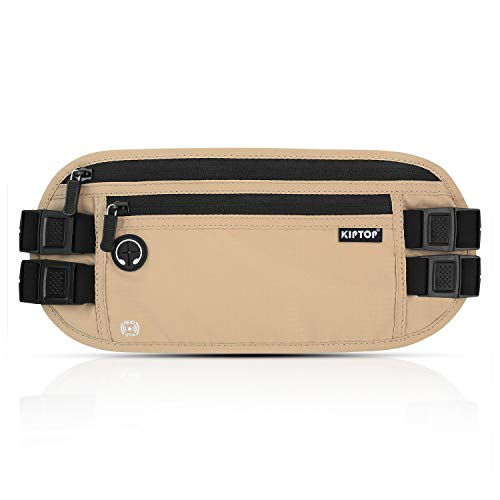 KIPTOP RFID Money Belt Waist Pack Bumbag Hidden Security Wallet Waterproof RFID Pouch with Headphone Hole for Phone Cards Passports Cash and Keys for Traveling Sports and Daily Use