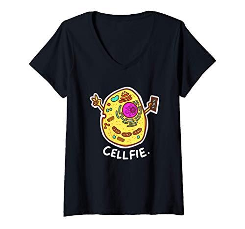 Mujer Cell-Fie Ciencia Biología Camiseta Cuello V