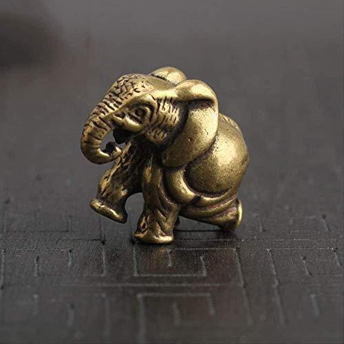 LIjiMY Vintage Cobre Elefantes Miniaturas Figurillas Escritorio Adornos De Latón Animal Decoraciones Caseras Accesorios Llavero Colgante