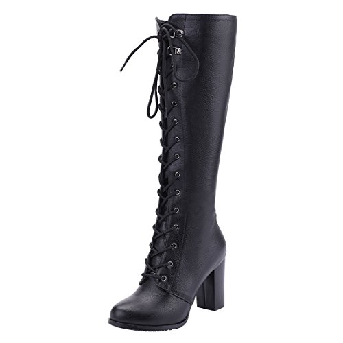 COCOLULU Damen Blockabsatz Kniehohe Stiefel zum Schnüren High Heels Langschaft Stiefel mit Reißverschluss(EU Size 39, schwarz)