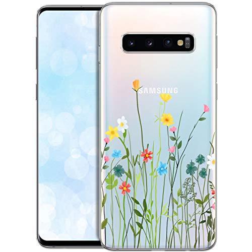 Fundas para iPhone QULT Compatible con Samsung Galaxy S10 Plus – Funda de Silicona Transparente con Lindos Motivos – Fundas iPhone Ultra Finas Prado de Flores