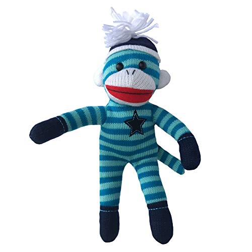 ColorBoxCrate Blue Sock Monkey Plush, 12 inch Classic Sock Monkey with Blue Stripes, Embroidered Blue Star, Stuffed Animal Toy with Soft Fabric for Boys with Red Lips and Blue Pom Pom Tossle Hat