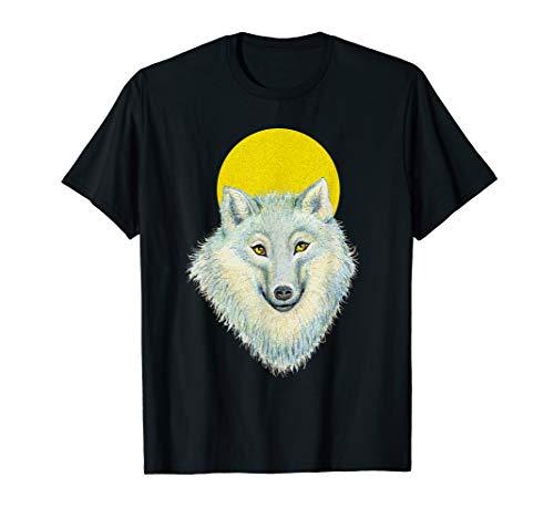 Weißer Wolf mit Goldaugen & Mond, für Wolf- und Fantasy Fans T-Shirt