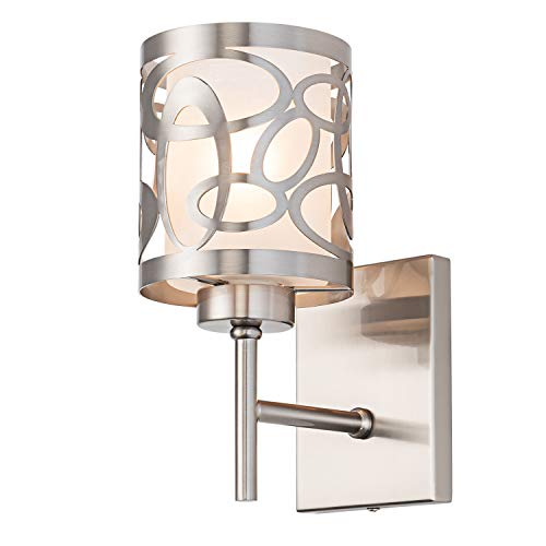 Modern Brushed Nickel Wall Sconce, Metal Caged Frosted Glass...