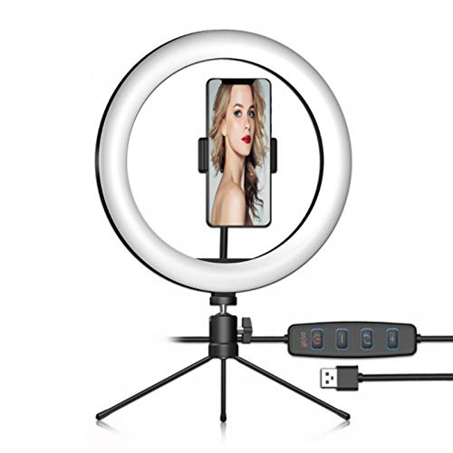 Selfie Ring Light, 10' LED Ring Light with Tripod Stand and Phone Holder Beauty Light with 3 Light Modes and 10 Brightness Level for Her Tik Tock Youtube Equipment
