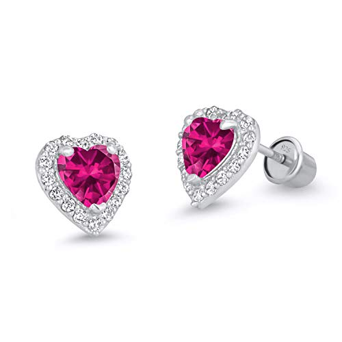 925 Sterling Silver Rhodium Plated Red Heart Cubic Zirconia Screwback Baby Girls Earrings