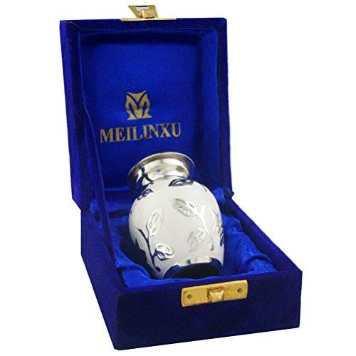 Funeral Urn - mini cremazione urna per ceneri per adulti, colore ottone inciso a mano - adatto a una piccola quantità di cremazione remains- display Burial Urn at Home or Office (Bram bianco