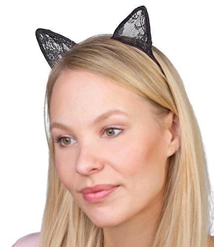 SIX Trend schmaler Damen Haarreif in Schwarz mit Katzenohren Tier Cat Ears aus Spitze Katze Kostüm Party Halloween (315-496)