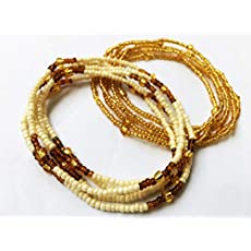 African Waist Beads Gold Color Bead Waist chain 10 Strand Belly bead Body Jewelry Gold Waist Beads Set Stretchy Elastic String Beaded Belly Chain