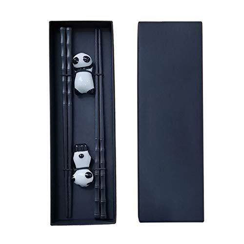Gobesty Juego de 2 pares de palillos chinos de madera con juego de restos, panda de cerámica, soporte para palillos de madera natural japonesa, palillos chinos para principiantes, con caja de regalo