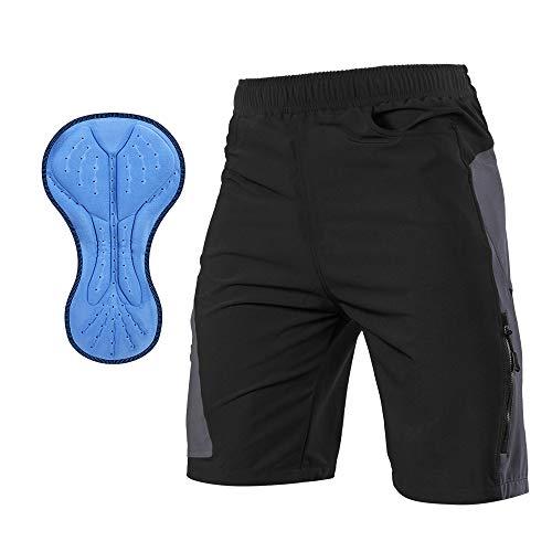 TOMSHOO Montagne Cyclisme Shorts vélo, 3D Rembourré Pantalons de Cyclisme, Cuissard Vélo VTT Sports Sweat Absorbent Volatility pour Homme Femme (Gris, XL)