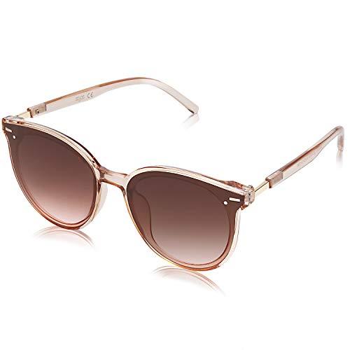 SOJOS Klassisch Retro Runde Sonnenbrille Damen Herren Groß Brille SJ2067 mit Klar Braun Rahmen/Braun Linse
