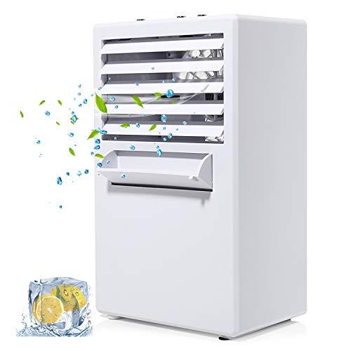 COMLIFE Aria Condizionata Portatile Climatizzatore Ventilatore da Tavolo 3 Velocità Silenziosa 3 in 1 di Nebbia Umidificatore Purificatore d'Aria