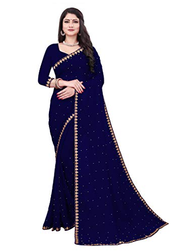 Fashion Day Women's Plain Woven Georgette Saree with Unstitched Blouse Piece(10771)
