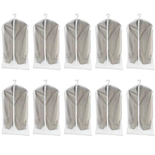 dystaval 10 TLG Set Kleidersack – 60 x 100 Kleiderhülle Anzugsack Anzughülle mit Reißverschluss transparent atmungsaktiv für Kleider und Anzüge
