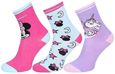 3 x Calcetines Mickie Minnie, unicornio DISNEY 11 Años +