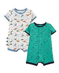 1. Carter's Baby Boy's Dinosaur Cotton Romper Set (2-Pack)