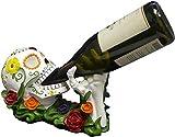 World of Wonders - Vin Los Muertos - Day of The Dead Sugar Skull Tabletop Wine Display Rack Halloween Decorations Bottle Caddy Dia de Los Muertos Statue Home Décor Dining Accent, 11-inch