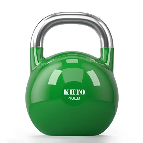 KHTO Kettle Bells - Wettkampf Kettlebell 18,1 kg - Professionelle Kettlebell für Fitness, Gewichtheben, Rumpftraining - Haltbares und starkes Design - 4,5-22,7 kg Farbcodierte Kollektion