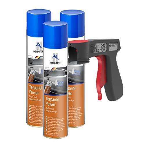AUPROTEC Nettoyant spécial High-Tech Terpanol Power détergent Spray 3X 400 ML + 1x poignée Originale pour Bombes aérosols