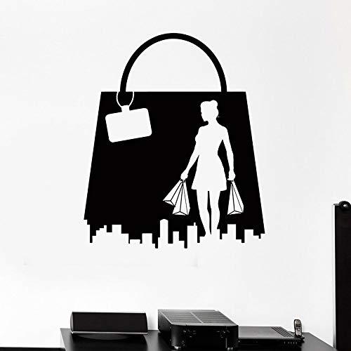 ASFGA Shopping Mädchen Wandtattoo Frau Modegeschäft Tasche Vinyl Fenster Aufkleber Interieur Einkaufszentrum Mitte Kunst Wandbild Shopping Geschenk Kleiderschrank 114x134cm