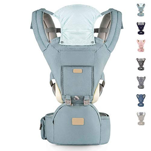 YIYUNBEBE Baby Carriers for All Seasons, 3-in-1 Baby Wrap Carrier with Hip Seat, Baby Carrier Infantino Backpack for Men Women Hiking Shopping Travelling (Cyan Blue)