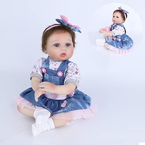 HRYEOY Reborn Muñeca Bebes55 cm 22 Pulgadas Lifelike Suave Vinilo de Silicona Muñecos Bebé Recién Nacido Hecho a Mano Regalo de Juguete Baby Doll Bebe Reborn niña