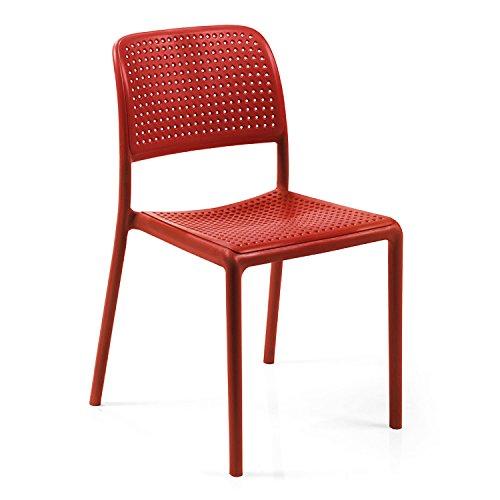 Nardi BISTROT Chair Red Pack of 2 Bistrotstuhl, Kunststoff, rot, 54 x 49 x 83 cm