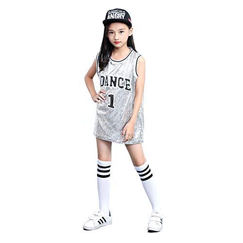 Girls Hip Hop Dancewear Costume, Silver, Red or Grey