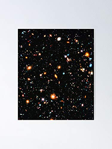 Hubble Extreme Deep Field Poster - for Office Decor, College Dorm, Teachers, Classroom, Gym Workout and School Halloween, Holiday, Christmas Party ! Great Inspirational Wall Art Poster.