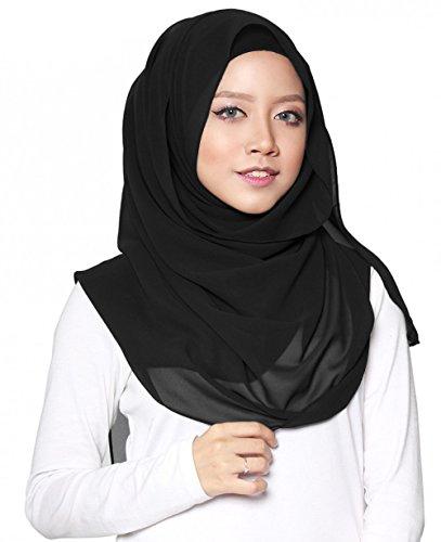 SAFIYA - Hijab Kopftuch für muslimische Frauen I Islamische Kopfbedeckung Halstuch Haartuch 75 x 180 cm I Damen Gesichtsschleier, Schal, Pashmina, Turban I Musselin / Chiffon - Schwarz