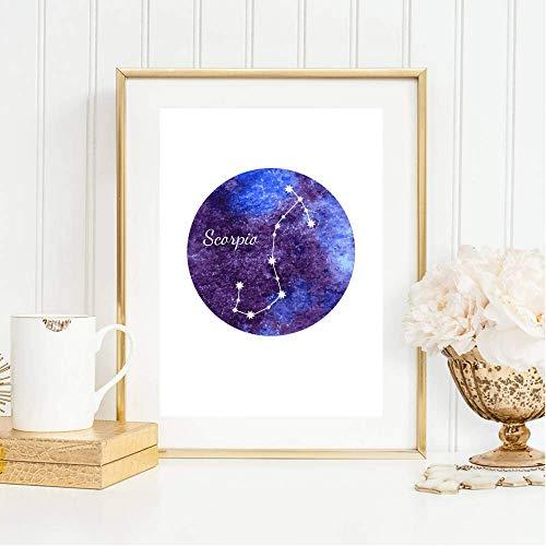 Din A4 Kunstdruck ungerahmt Sternzeichen Horoskop Skorpion Scorpio Astrologie Sterne Sternhimmel Sternbild Druck Poster Deko Bild