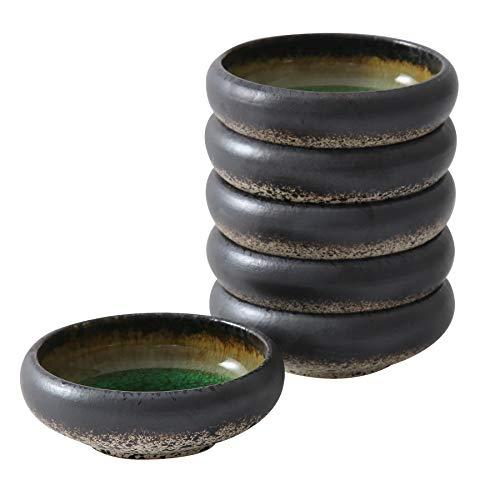 terrace&dragon Japanische Soßen-Dip-Schalen, bunt, für Kuchen, Snacks, Sojasauce, Salat, Tiefe runde Servierschüsseln, 6 Stück (Grüne Glasur)