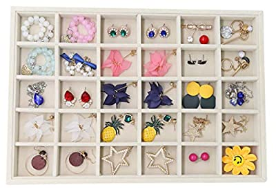 Stratalife Velvet Stackable 30 Grid Jewelry Tray Organizer Jewelry Storage Earrings Showcase Display for Drawers (30 Grid)