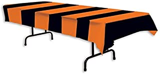 Beistle Orange and Black Stripes Tablecover, 54 x 108 (3-Pack)