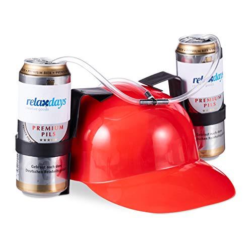 Relaxdays 10022789_47 Party Trinkhelm, Helm mit Schlauch, für 2 Dosen Bier, Spaßartikel Fasching u. Fußball, lustiger Bierhelm, rot, Unisex– Erwachsene, 13 x 32 x 28 cm