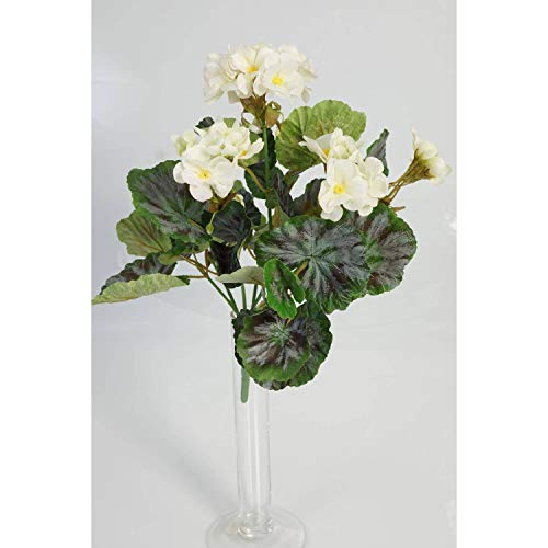 artplants.de Decorativa Mata de geranios Merle, Blanca, 30cm, Ø 20cm - Planta Artificial - Flor sintética