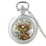 Reloj de bolsillo de cuarzo con diseño de gato clásico punk...