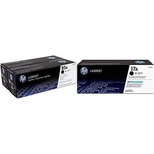 HP CE285AD 85A Cartucho de Tóner Original, 2 unidades, negro + 17A CF217A, Negro, Cartucho Tóner Original, de 1.600 páginas, para impresoras LaserJet Pro M102 y M130
