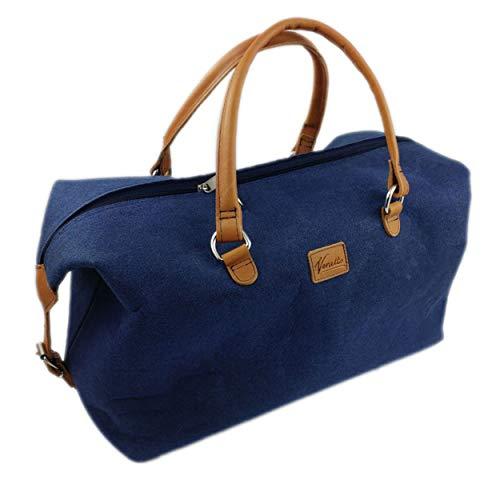 Venetto Venetto Handtasche Businesstasche kleiner Weekender Reisetasche Tasche Damen Filztasche mit Leder-Applikationen (Weekender blau dunkel klein)
