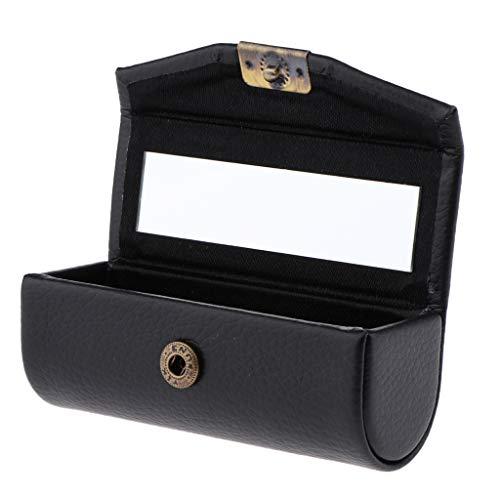 Fenteer Etui à Rouge à Lèvres/Bijoux avec Miroir Fait à la Main Cadeau Sac de Noël - Noir